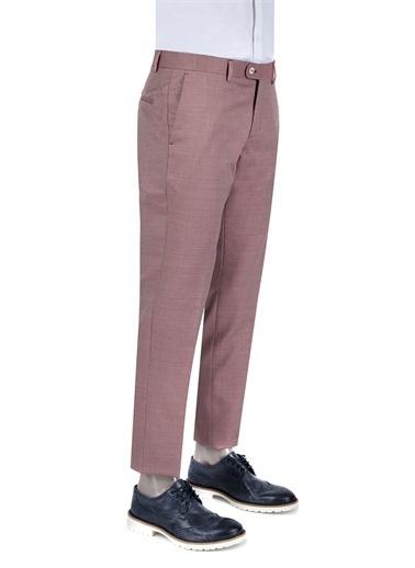 Damat Slim Fit Desenli Kumaş Pantolon Kırmızı